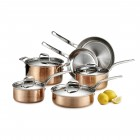 Martellata 10 Piece Hammered Copper Cookware Set