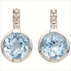 Diamond & Blue Topaz Earrings