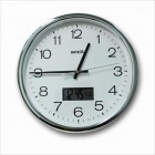 "12"" Analog Aluminum Analog Clock with LCD Date and Day"