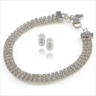 Carolee Three Row Crystal Bracelet & Pave Hoops Set