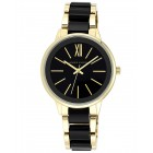 Women's Gold-Tone and Black Dress Watch