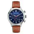 Men's Blue Dial and Brown Leather Strap Chronograph Watch