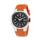Men's White Dial Orange Silicon Strap Watch