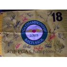 2005 PGA Championship golf pin flag autographed by 23 winners Phil Mickelson Paul Azinger John Daly Ray Floyd Gary Player Lee Trevino