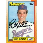 Bobby Valentine autographed Texas Rangers 1990 Topps card