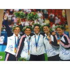 Mia Hamm Brandi Chastain Joy Fawcett Julie Foudy Kristine Lilly autographed 2004 U.S. Olympic 16x20 poster size photo inscribed 2004 GOLD #/9