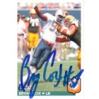 Bryan Cox autographed Miami Dolphins 1992 Fleer card