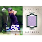 Candie Kung autographed 2004 SP Signature golf tournament worn shirt card