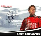 Carl Edwards autographed Office Depot Racing NASCAR photo card