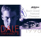 Dale Earnhardt Jr. autographed 1998 8x10 photo card