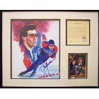Dan Jansen autographed speed skating 11x14 art print matted & framed