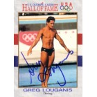 Greg Louganis autographed U.S. Olympic Hall of Fame card