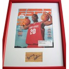 Greg Oden autographed floor framed with 2006 Ohio State ESPN Magazine cover