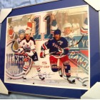 Mark Messier autographed 16x20 poster size photo matted & framed inscribed 6 Cups #80/111 (Steiner)