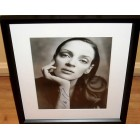 Uma Thurman autographed black & white portrait photo matted & framed