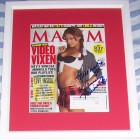 Vanessa Minnillo autographed Maxim magazine cover matted & framed
