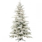 Fraser Hill Farm 7.5 Ft. Flocked Mountain Pine with Clear LED String Lighting